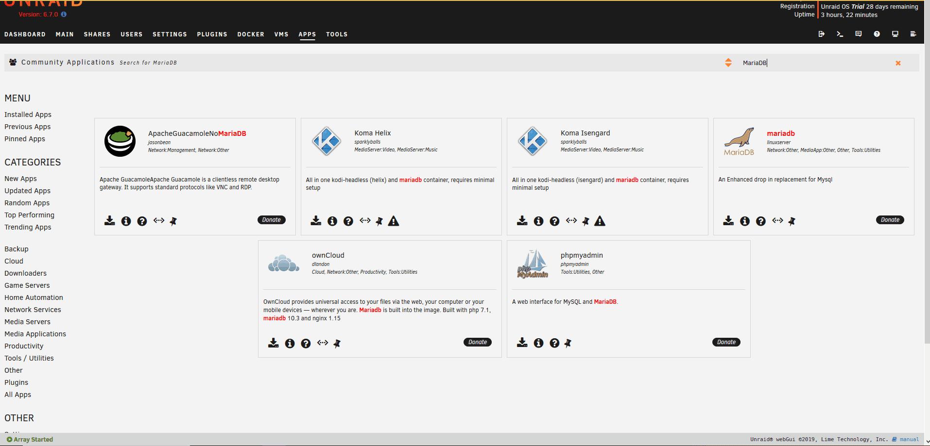 MariaDB InstallierenUnraid