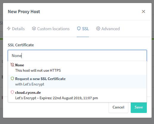 request-Zertifikat